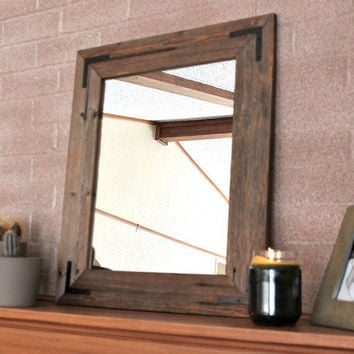 Two Custom Rustic Industrial Eco Decor Reclaimed Wood Mirror - Custom Size finished framed farmhouse mirror