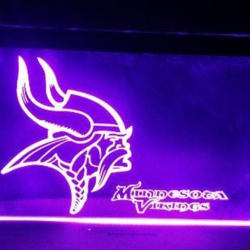 B-210 Minnesota Vikings Football beer bar pub club 3d signs LED Neon Light Sign man cave