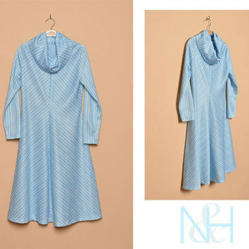 Vintage 1970s Light Blue Striped Day Dress with Cowl Neck