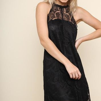 Black Halter Neck Lace Keyhole Dress