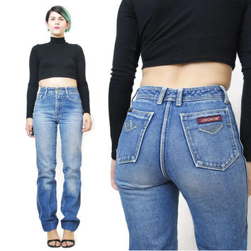 70s 80s High Waisted Jeans Jordache Jeans Straight Leg Jeans Medium Wash Jeans Whiskered Denim Slim Leg Blue Jeans Vintage Womens Jeans (S)