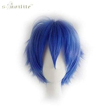 SNOILITE Synthetic Short Cosplay Wig Party Straight Hair Halloween Heat Resistant Full Wigs Dark Blue 11 colors Macchar Cosplay Catalogue