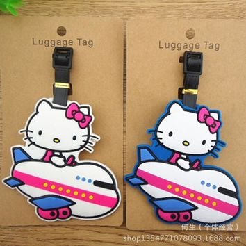 Plastic toys Luggage Hello Kitty tag Travel Luggage Suitcase Baggage Travel bag Boarding tag Lovely Label Name ID Action Toy