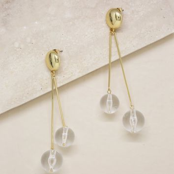 Clear Resin Ball Drop Earrings in Gold