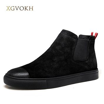 2018 Men Shoes Vintage Chelsea Boots Cow Suede Leather Men's Sneakers Winter Shoes Warm Luxury Mens Fashion Slip on Ankle Boots