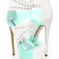 White Grommet Strappy Platform Heels Faux Leather