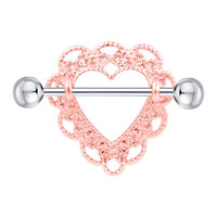 2 pcs Lady Nipple Rings Piercing Stainless Steel Rose  Heart Body Jewelry  Ear/Nose Pierced Navel Botton Rings Gifts