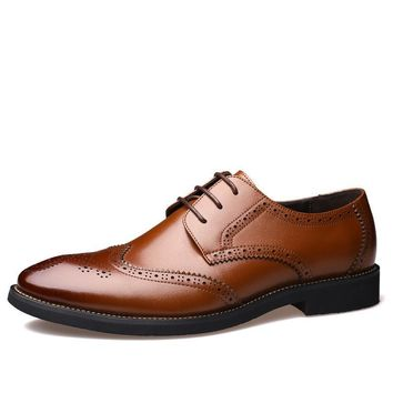 Carved Leather Business Shoes