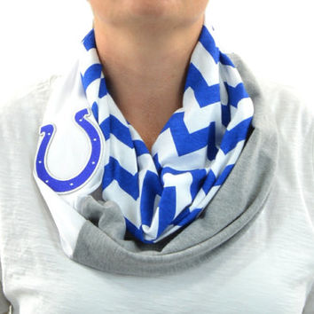 Indianapolis Colts Chevron Infinity Scarf Zig Zag Stripe Grey Blue Gameday Infinity scarf Loop Circle jersey