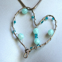 Swarovski Crystal Beads Wire Wrapped Heart Necklace
