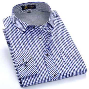 Men's Long Sleeve Small Plaid Pattern Dress Shirt