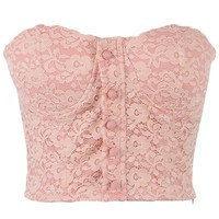 Anna-Kaci S/M Fit Pink Sweetheart Neckline Button Trim Floral Lace Overlay Top