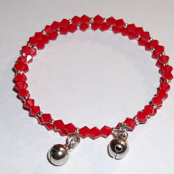 Holiday Red & Silver Beaded Jingle Bells Hand Crafted Wrap Bangle Bracelet