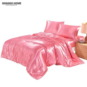 GGGGGO HOME 3/4PCS DUVET COVER SET SATIN SILK BEDDING SET WITH DUVET COVER PILLOWCASES pink/black/white/blue/purple/gray/golden