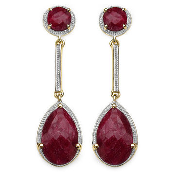 14K Yellow Gold Plated 16.54 Carat Genuine Dyed Ruby .925 Sterling Silver Earrings