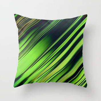 Diagonal Stripes of Green and Black Throw Pillow by Lyle Hatch