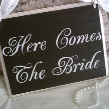 Wedding Sign Wedding PHOTO PROP Here Comes The by RomanticPlanet