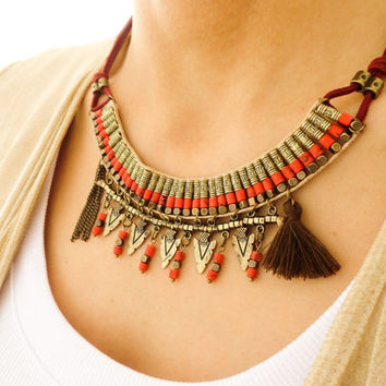 Red ethnic necklace boho jewelry ethnic pentant accessories hippie style necklace antiqued necklace bohemian jewelry brass authentic jewelry