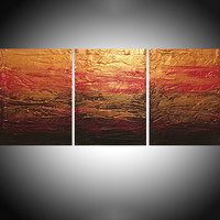 """ARTFINDER: Beauty in the Breakdown red gold impasto triptych abstract original abstract painting art canvas - 48 x 20 inches by Stuart Wright - Title """" Beauty in the Breakdown """" A good sized..."""