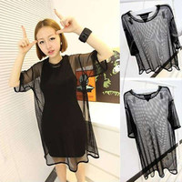 Hot Sales Women clothings Fashion Korean Style Sexy Women See Through Sheer Mesh Short Sleeve Tee Oversize Tops
