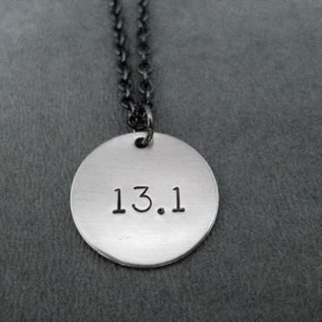 DISTANCE Round Charm Necklace - Nickel pendant priced with Gunmetal Chain