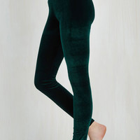 80s Skinny City Adventure Velvet Leggings in Emerald by ModCloth