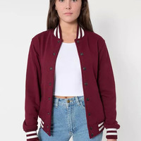 Stripe Button Baseball Jacket