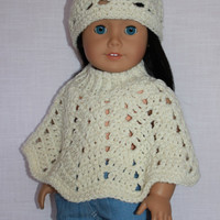 3 piece set, 18 inch doll clothes, doll ivory sparkle crochet hat & poncho,  Upbeat Petites