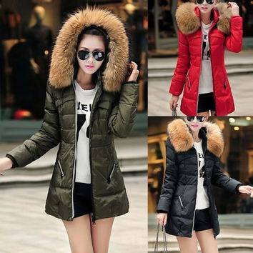 2015 Winter Fashion Thicken Slim Female Fur Collar Long Sleeve Hooded Zipper Cotton Casual Women's Long Coats Plus Size S-XXL = 1932906244