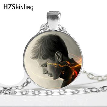 HZ--A585 New Supernatural Dean Necklace Supernatural Dean Pendant Jewelry Glass Picture Pendant HZ1