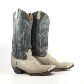 Cowboy Boots Vintage 1980s Men's Tony Lama Two tone Gray Leather size 9 E