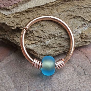 Blue Beaded Rose Beaded 16g 18g or 20 Gauge Rose Gold Nose Hoop Ring or Helix Tragus Cartilage Hoop Earring