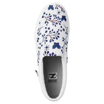 Blue Butterflies and Flowers Printed Shoes