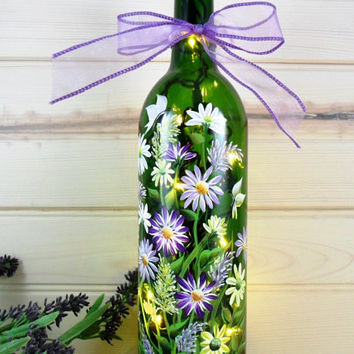 Lighted Wine Bottle Hand Painted Flower Bouquet Recycled 750ml