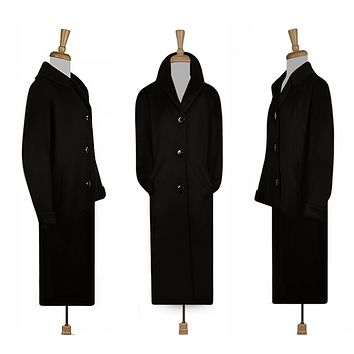 Womens Long Coat- Maxi Coat- Black Coat- Overcoat- Formal Coat- Plus Size Coat- Vintage
