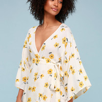 Relax on High Cream Floral Print Wrap Dress