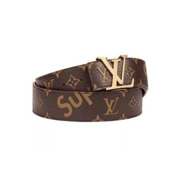 LOUIS VUITTON X SUPREME Men's LV Initiales 40MM Monogram BROWN belt 90/36 SPAIN