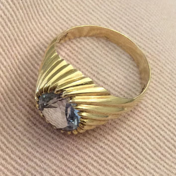 Aquamarine Ring 14K Gold, 585 European Gold, Victorian