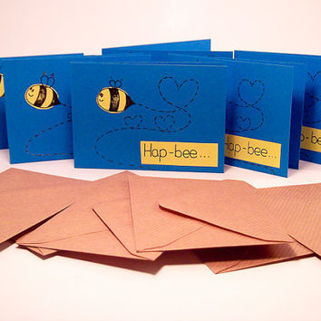 Greeting Cards - Note Cards Pack of 6 - Hap-bee Bee Greeting Card 6 Pack - Mini Note Cards