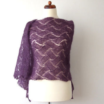 purple lace shawl, knit bridal stole, luxury wedding shrug