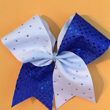 Sparkles blue and white cheer bow