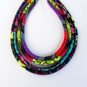 Colorful fabric jewelry - Ankara african long tribal accessories