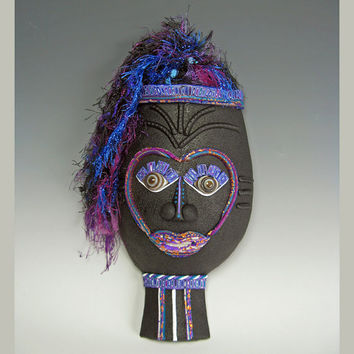 Sweet Teen - African Style 3D Art Mask Wall Sconce in Black, Gold and Purple and Blue Polymer Clay