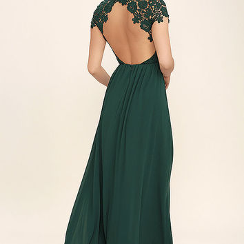 The Greatest Forest Green Lace Maxi Dress