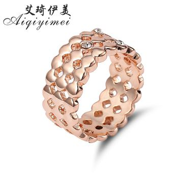 Aiqiyimei 2017 New Elegant Crystal Wedding Rings For Women Rose Gold meshed Ring Pomellato Fashion Brand Bride Jewelry Gift