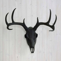 The Black Faux Deer Head Skull