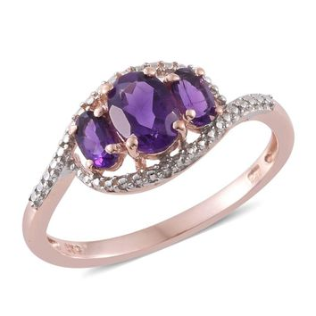Amethyst 14K RG Over Sterling Silver 3 Stone Ring