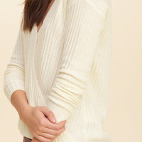 Wrap Front Ribbed Sweater