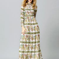 Floral Leaves Print Long Sleeve Maxi A-Line Dress