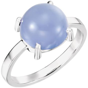 14K White 10mm Round Blue Chalcedony Cabochon Ring
